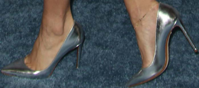 Vanessa Hudgens in silver pointed toe pumps from Nicholas Kirkwood