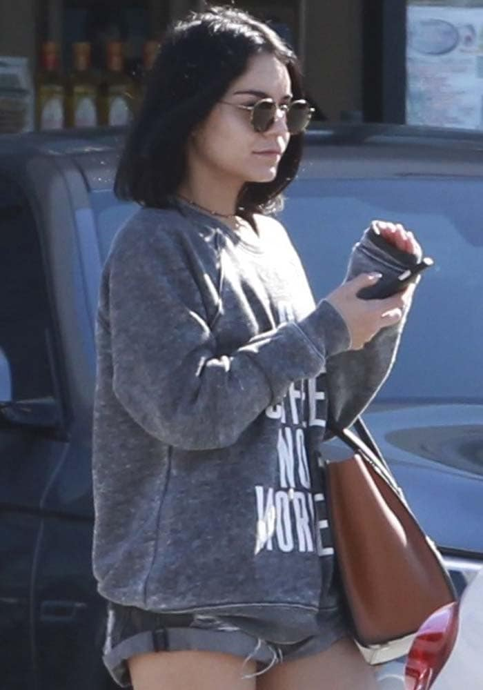 Vanessa Hudgens wears her hair down as she leaves lunch at Studio City sushi restaurant Sugarfish