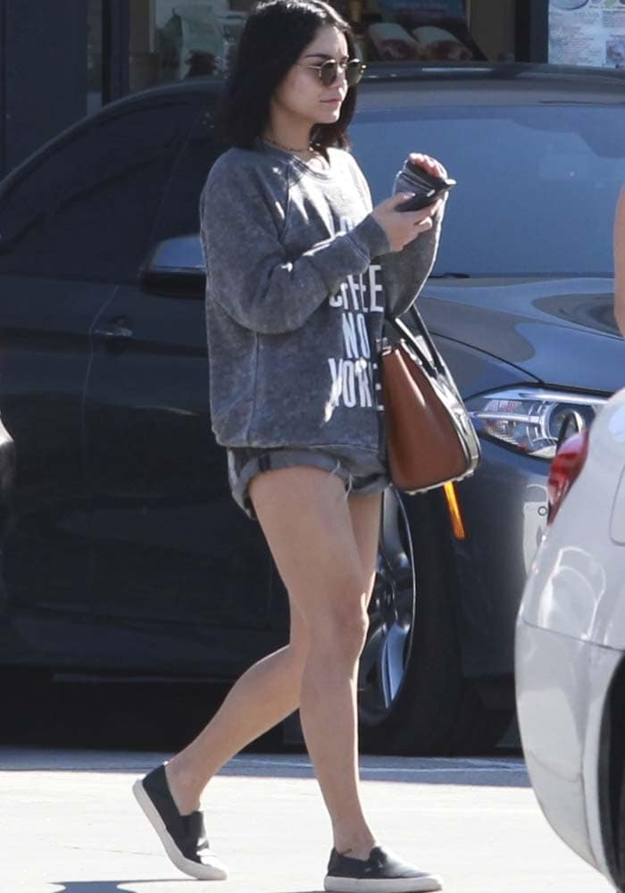 Vanessa Hudgens wears a 2nostalgik sweater and shorts for a sushi lunch date