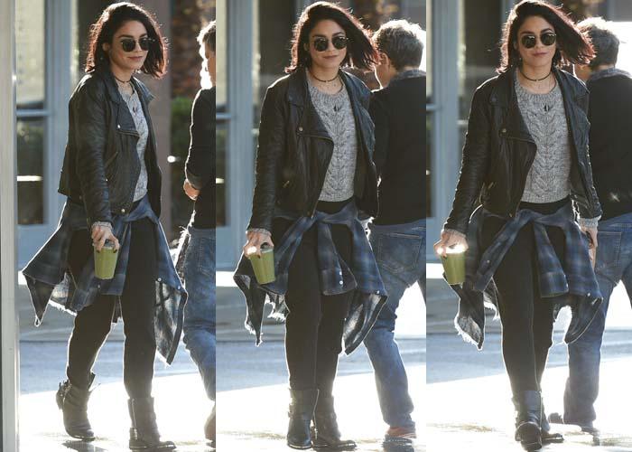 Vanessa Hudgens casually wears a flannel around her waist