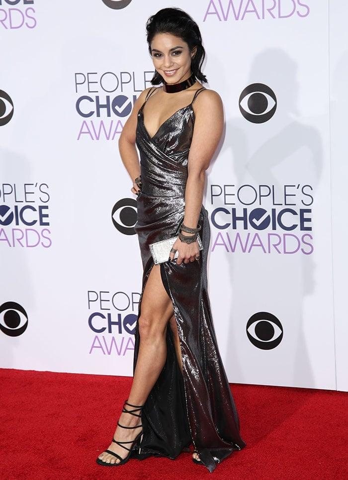 Vanessa-Hudgens-cleavage-legs-metallic-dress