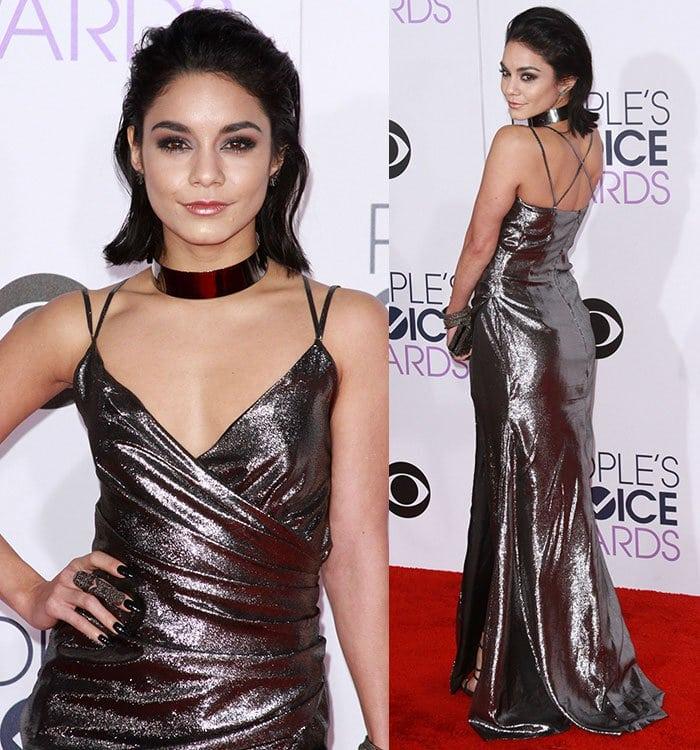 Vanessa-Hudgens-low-cut-Kayat-metallic-dress