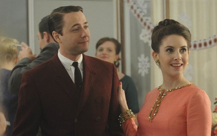 Vincent Kartheiser (as Pete Campbell) and Alison Brie (as Trudy Campbell) in Mad Men