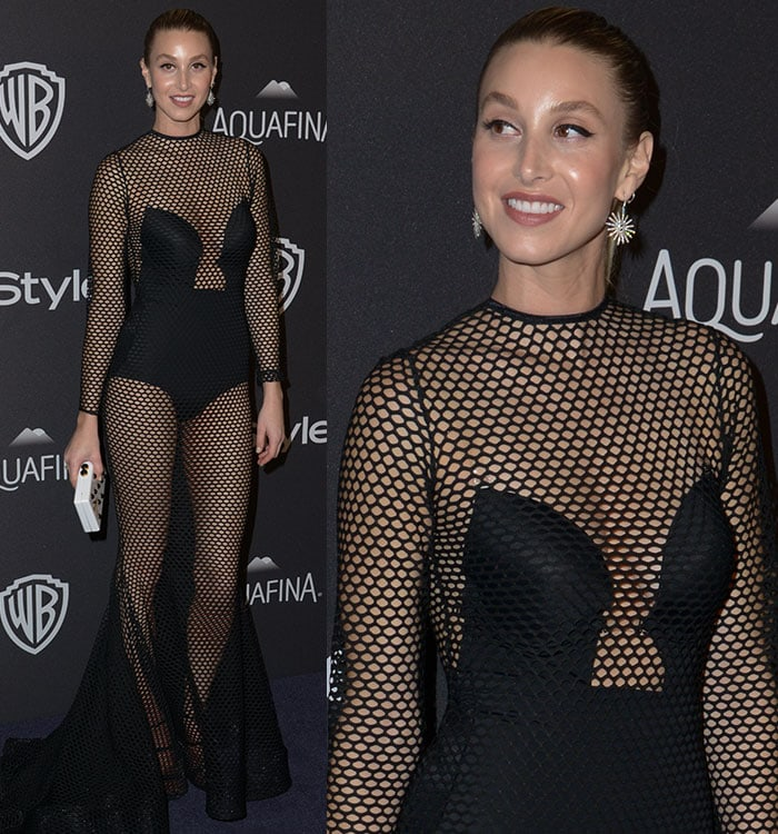 Whitney Port pulls her hair back to show off her sparkling Jane Seymour earrings