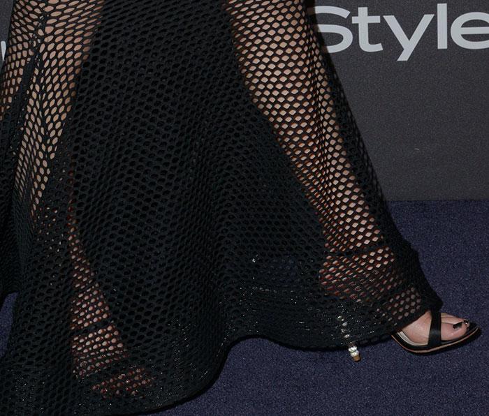Whitney Port's feet in crystal-embellished Sophia Webster sandals
