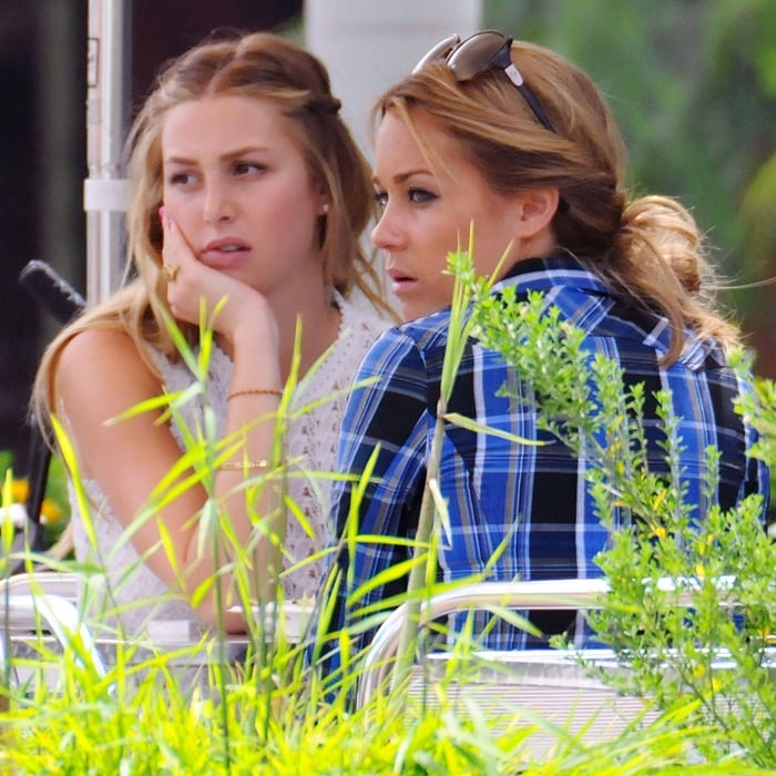 Whitney Port and Lauren Conrad filming The Hills in West Hollywood