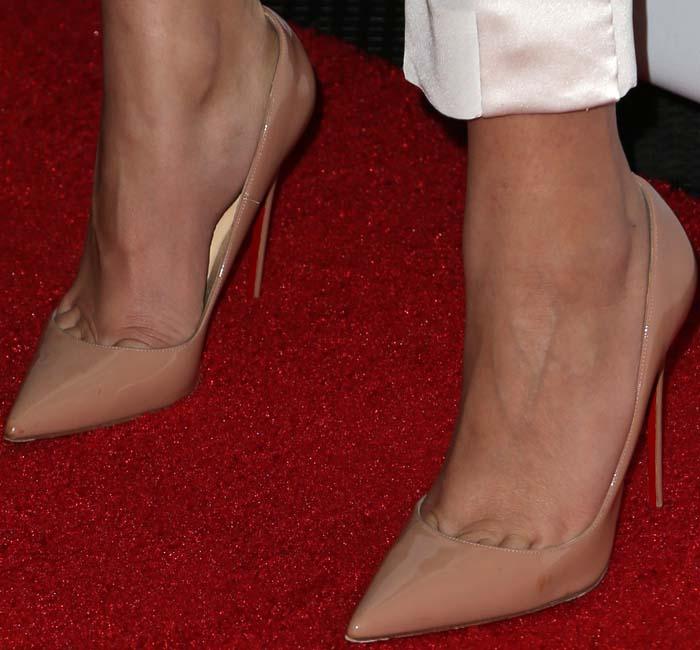 Zendaya's feet in nude Christian Louboutin pumps
