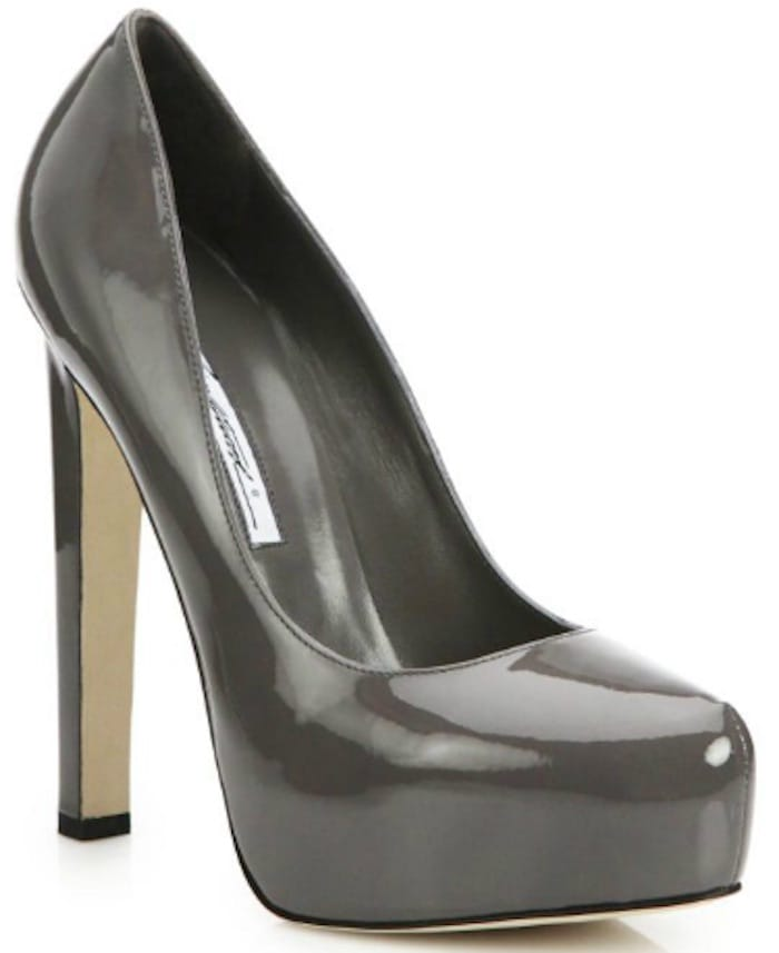 """Brian Atwood """"Maniac"""" Patent Leather Platform Pumps in Grey"""