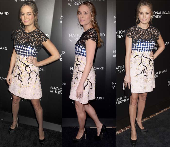Brie Larson pairs an eccentric Giambattista Valli dress with simple black pumps