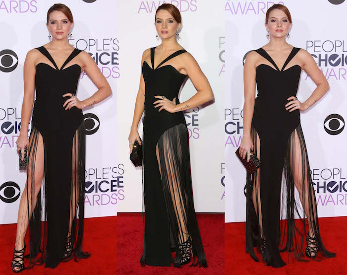 Katie Stevens shows off her legs in a black fringed gown