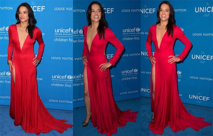 Michelle Rodriguez in a custom Gabriela Cadena gown for the 6th Biennial UNICEF Ball