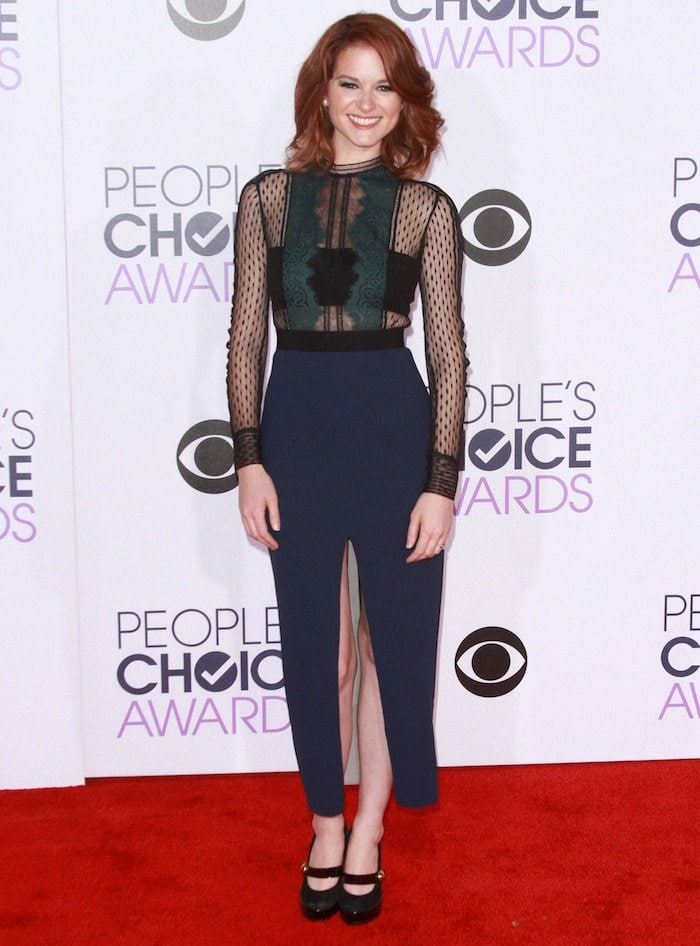 Sarah Drew wears a black, blue and teal Self-Portrait dress on the red carpet
