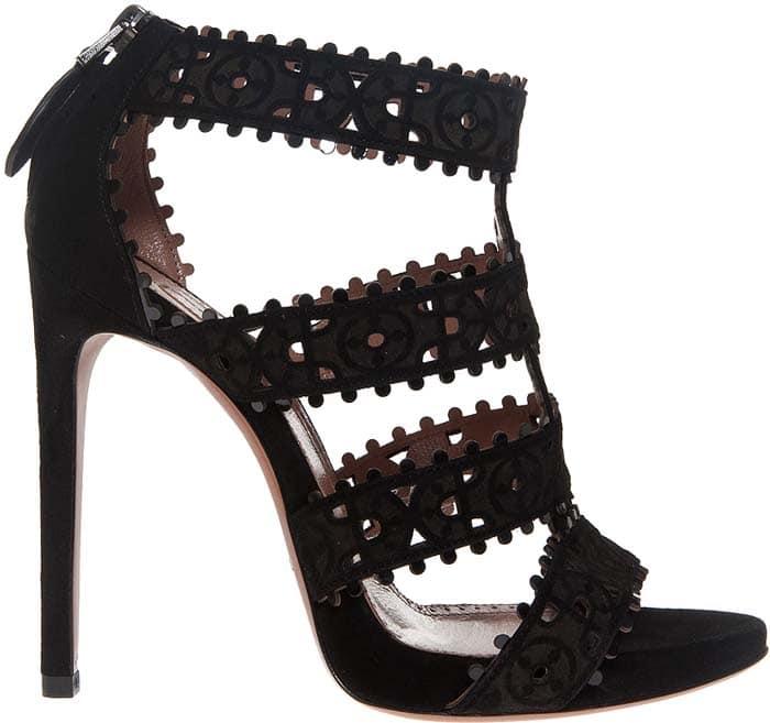 Alaia Cutout Suede Sandals