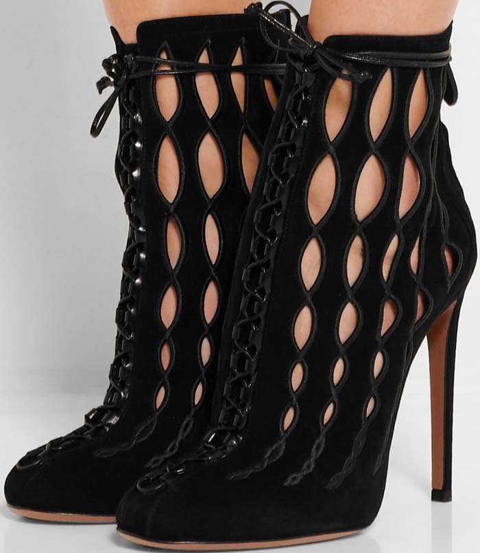 Alaïa Embroidered Laser-Cut Suede Ankle Boots