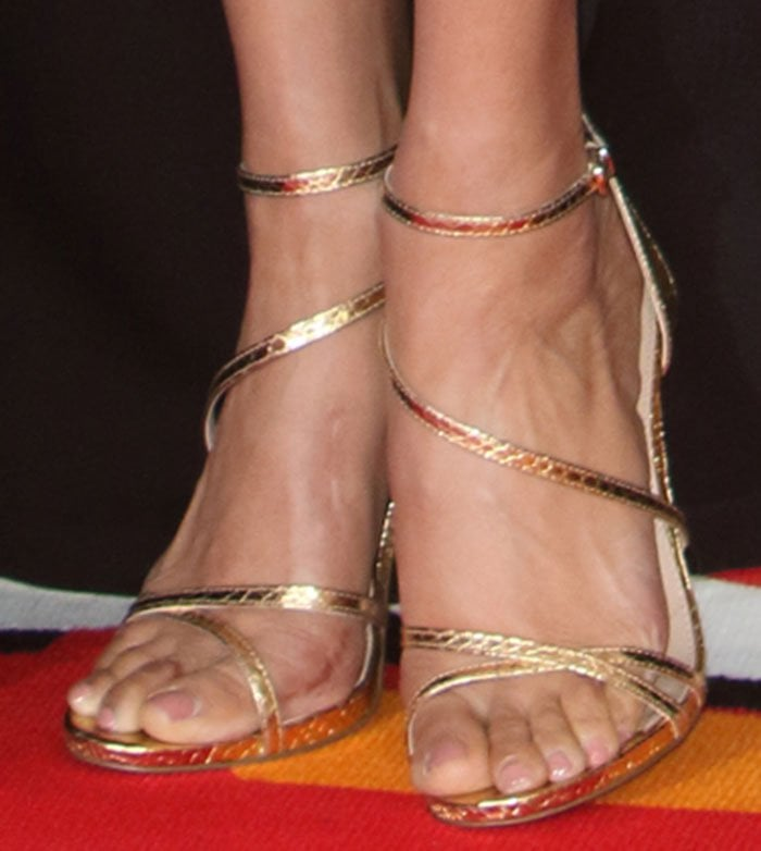 Alesha-Dixon-Carvela-Georgia-Gold-Metallic-Faux-Snake-Sandals