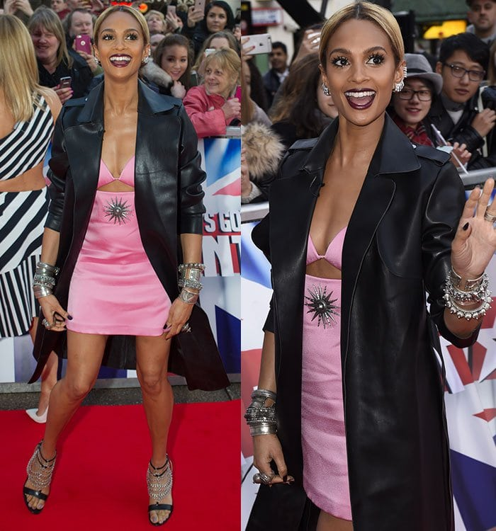 Alesha-Dixon-Fausto-Puglisi-pink-dress-black-coat