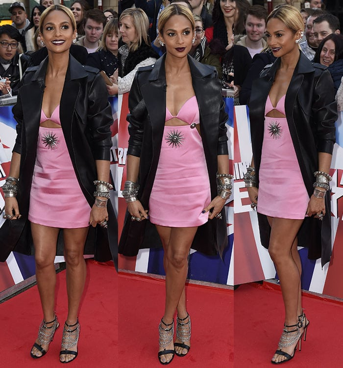 Alesha-Dixon-pink-embeliished-cutout-dress-black-coat