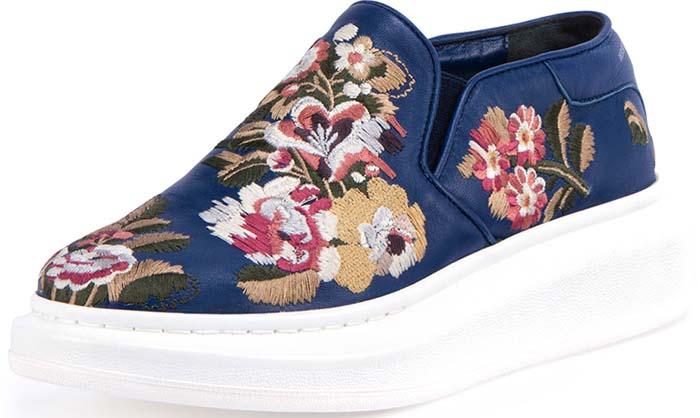 Alexander McQueen Embroidered Slip-On Sneaker in Navy/Multi