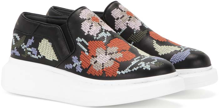 Alexander McQueen Embroidered Slip-On Platform Leather Sneakers
