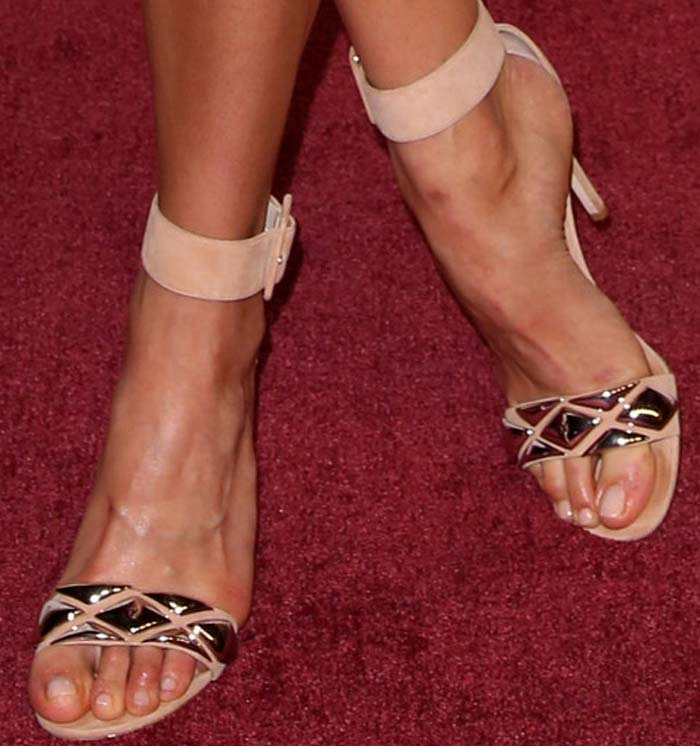 Alicia Vikander's sexy feet in metal-embellished suede sandals
