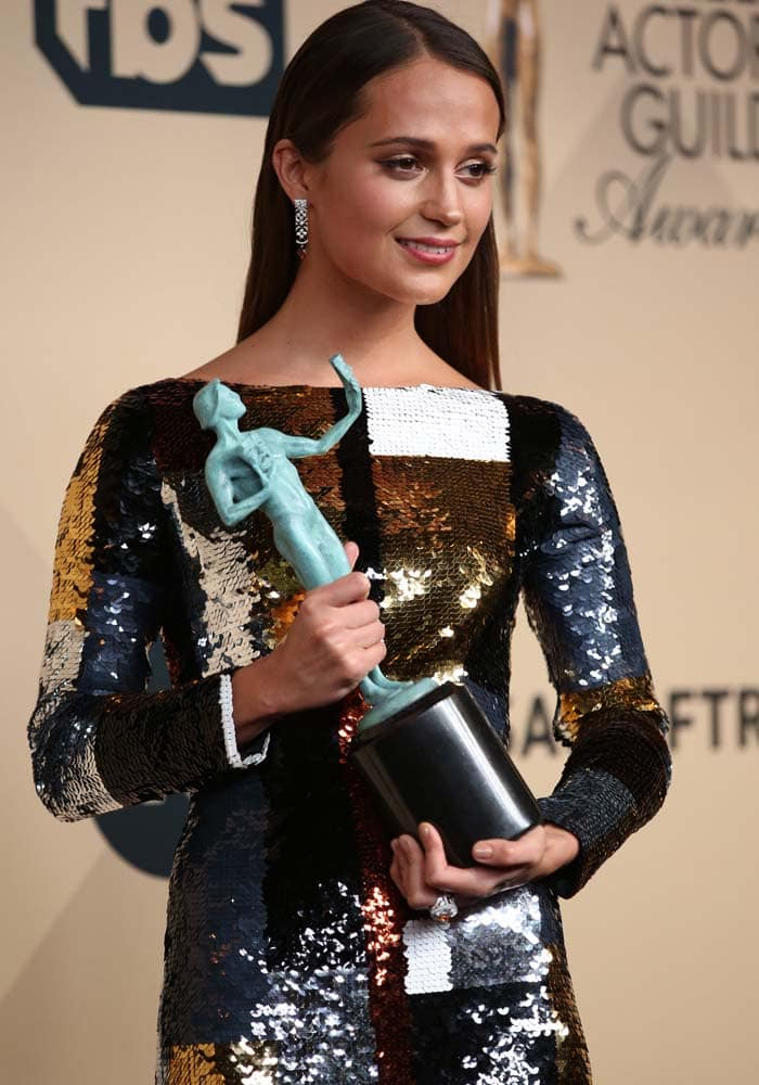 Alicia Vikander won Outstanding Performance by a Female Actor in a Supporting Role for playing the supportive wife of transgender pioneer Lili Elbe in The Danish Girl