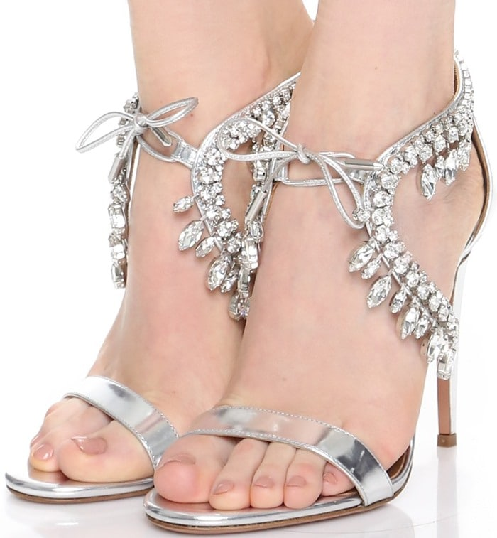 Aquazzura Milla Jewel 105 embellished suede sandal