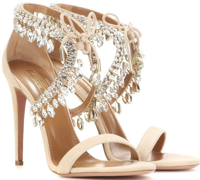 Aquazzura Milla Jewel 105 embellished suede sandals