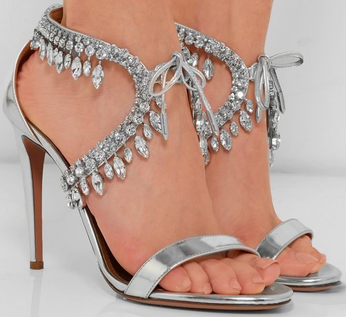 Aquazzura Milla crystal-embellished metallic leather sandals