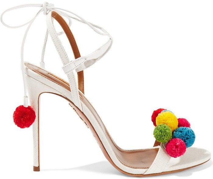 Aquazzura Pompom-embellished raffia sandal
