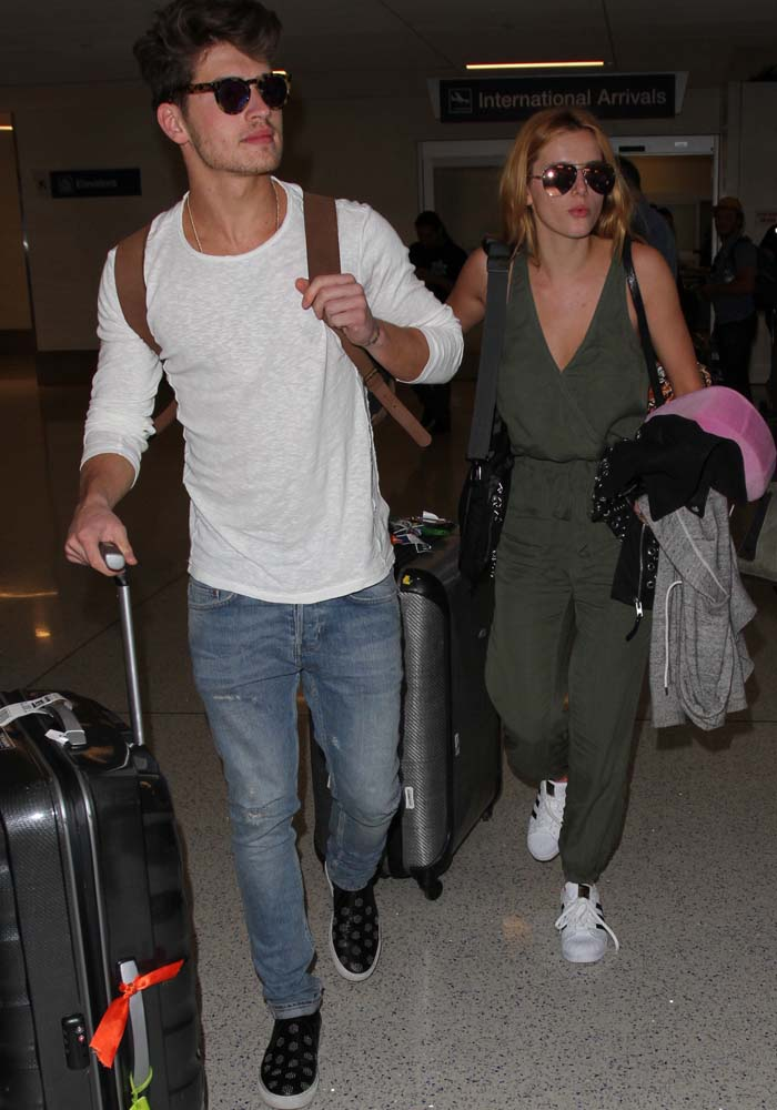 Bella Thorne and boyfriend Gregg Sulkin arrive at LAX after a weekend in Mexico