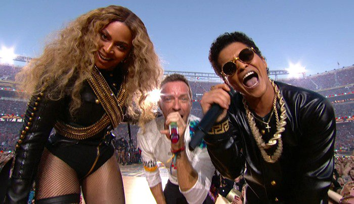 Coldplay, featuring Beyonce and Bruno Mars perform during the halftime show for Super Bowl 50, held at Levi's Stadium in Santa Clara, California. As seen on CBS. Featuring: Beyoncé, Bruno Mars, Chris Martin Where: United States When: 07 Feb 2016 Credit: Supplied by WENN.com **WENN does not claim any ownership including but not limited to Copyright, License in attached material. Fees charged by WENN are for WENN's services only, do not, nor are they intended to, convey to the user any ownership of Copyright, License in material. By publishing this material you expressly agree to indemnify, to hold WENN, its directors, shareholders, employees harmless from any loss, claims, damages, demands, expenses (including legal fees), any causes of action, allegation against WENN arising out of, connected in any way with publication of the material.**