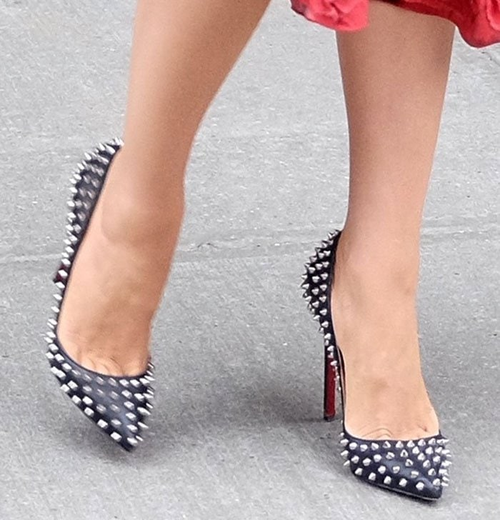 Blake Lively's feet in spiked Christian Louboutin pumps