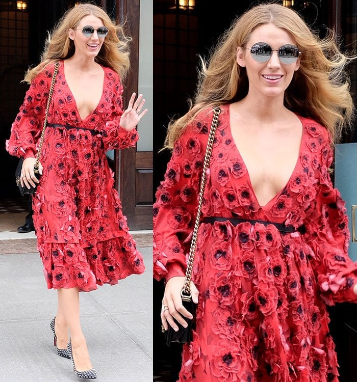 Blake Lively wears a floral Michael Kors dress while out in New York City