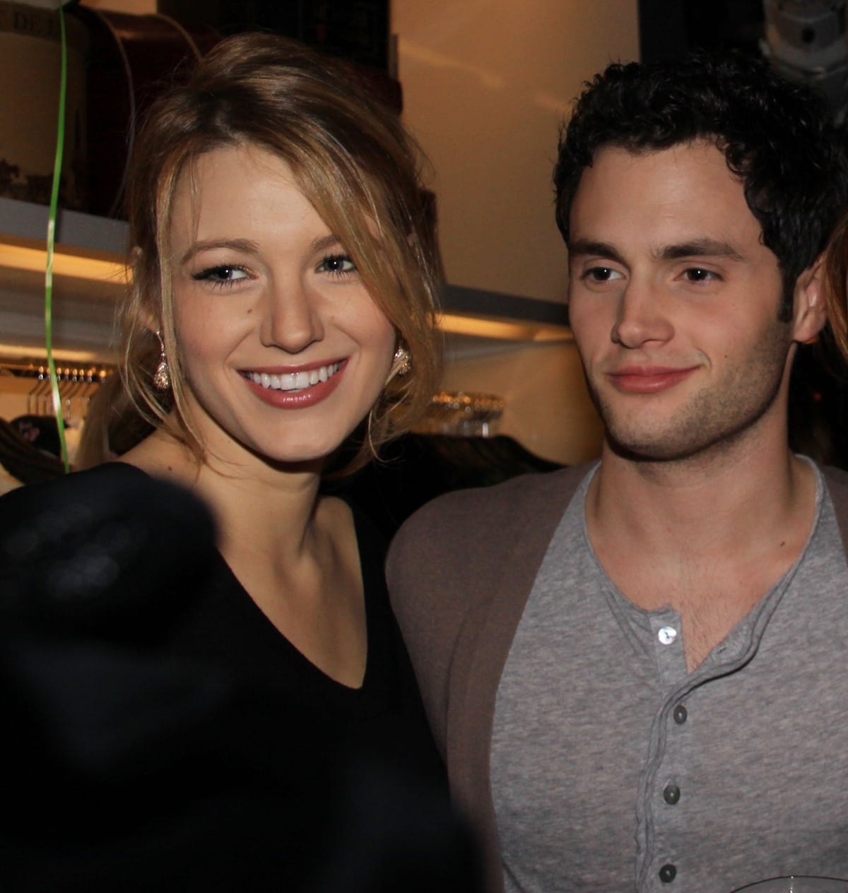 Blake Lively and her boyfriend Penn Badgley at the grand opening of Juicy Couture NYC's flagship store