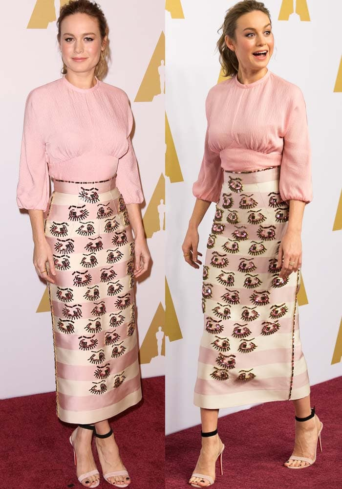 Brie wore a pink puff top and eye-printedskirt by Emilia Wickstead