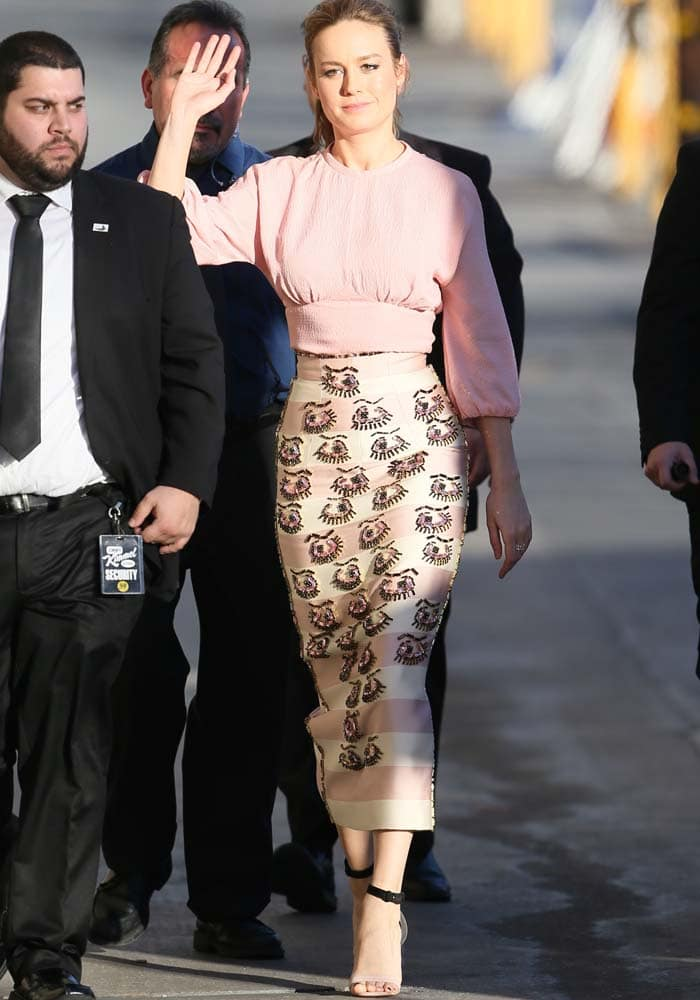 """Brie Larson arrives at ABC Studios for """"Jimmy Kimmel Live!"""" after attending the Academy Awards nominee luncheon in Los Angeles on February 8, 2016"""