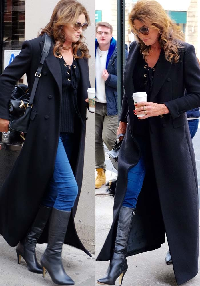 Caitlyn Jenner styled a long trench coat with blue jeans
