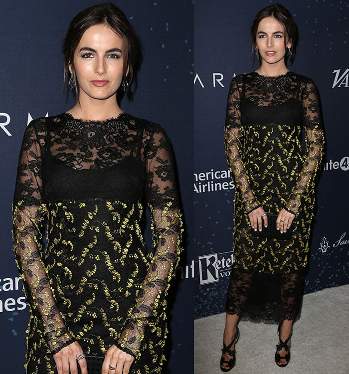 Camilla Belle wears a sheer embroidered Monique Lhuillier dress to the Unite4:Humanity event