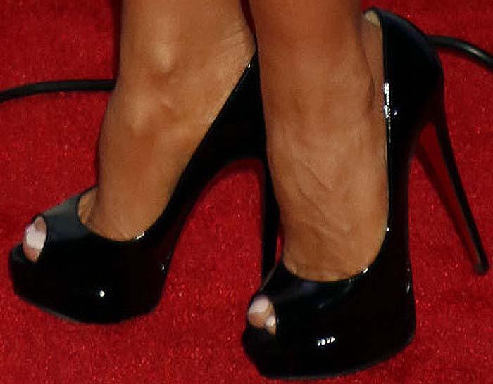 Carmen Electra's feet in platform Christian Louboutin shoes