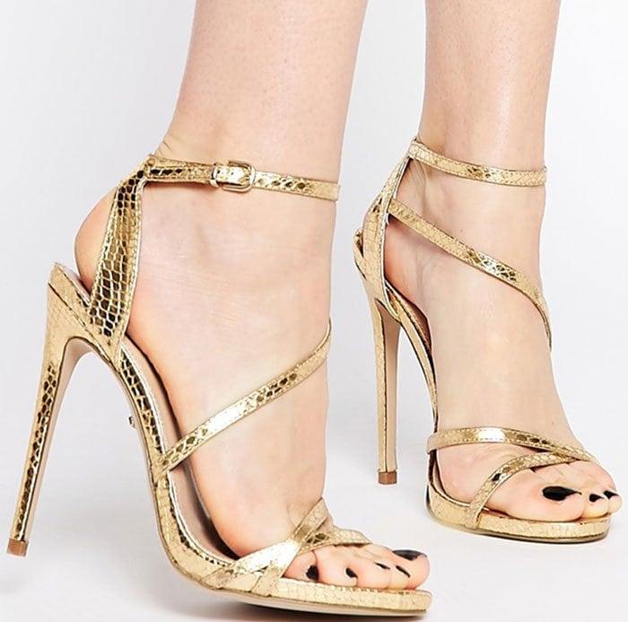 Carvela Georgia Metallic Faux Snake Sandals