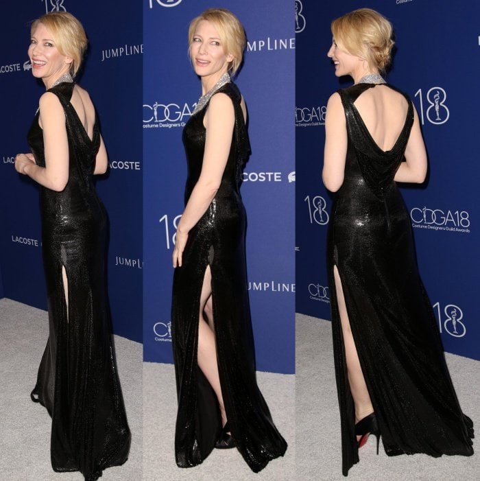 Cate blanchett versace gown christian louboutins designers guild awards 2