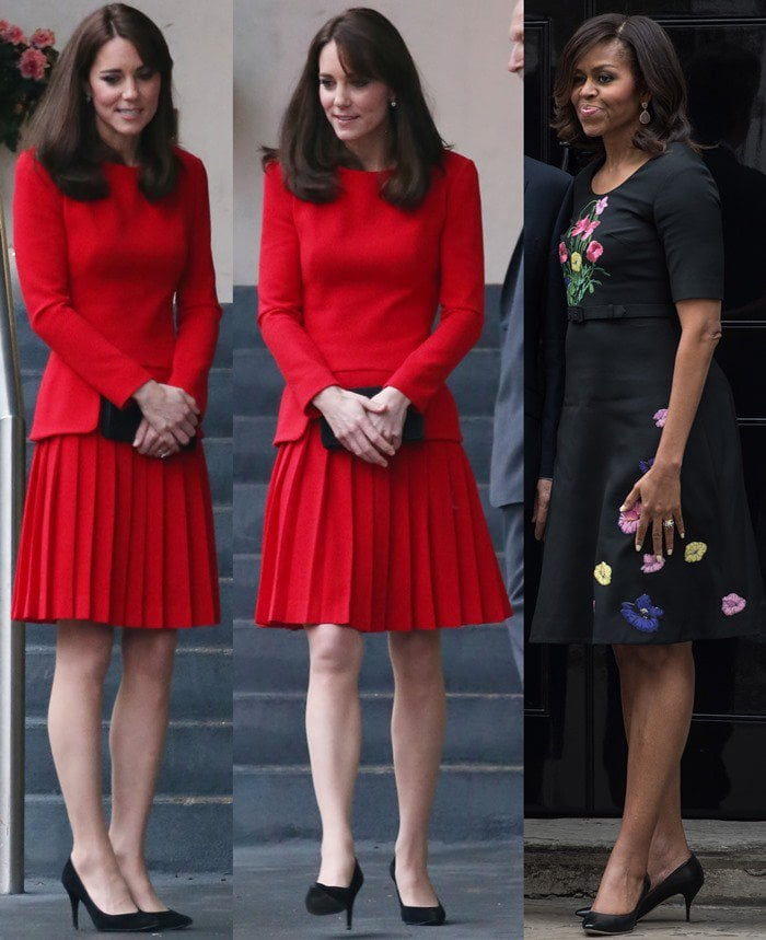 "Duchess of Cambridge, Catherine Middleton attends a Christmas party at the Anna Freud Centre in North London on December 15, 2015 in Stuart Weitzman ""Power"" pumps/First Lady Michelle Obama has tea with the Camerons as part of her UK visit in London on June 16, 2015 in some classy and simple black pumps"