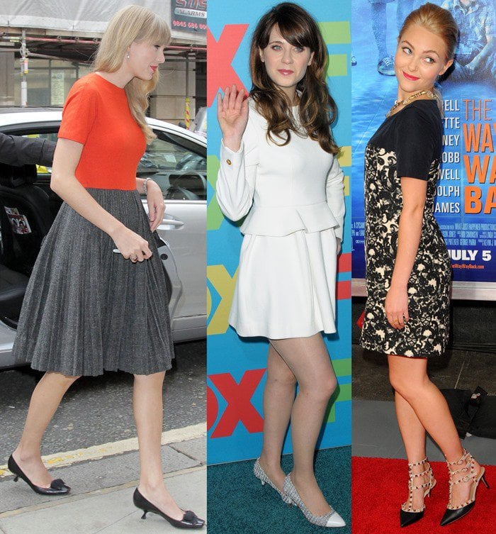 Taylor Swift outside the BBC Radio 1 studios in London on October 5, 2012 in a pair of black kitten heels / Zooey Deschanel arriving at FOX Upfronts at The Beacon Theater in New York City on May 13, 2014 in a sparkling pair of kitten heels / AnnaSophia Robb in Valentino 'Rockstud' kitten heel pumps at 'The Way, Way Back ' New York premiere held at AMC Loews Lincoln Square in New York City on June 26, 2013
