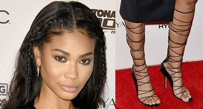 5827985c209 Chanel Iman Continues Sexy Style Streak in Alexa Wagner Knee-High Lace-Up  Sandals at SI Swimsuit 2016 Swim BBQ