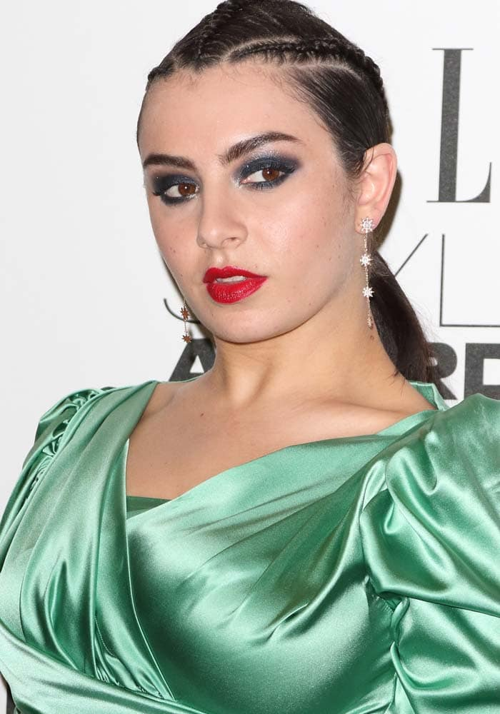 Charli XCX wears her hair back in braids at the 2016 Elle Style Awards