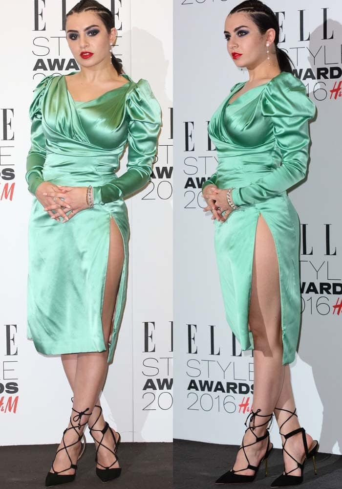 Charli XCX wears an unflattering green Vivienne Westwood dress to the Elle Style Awards