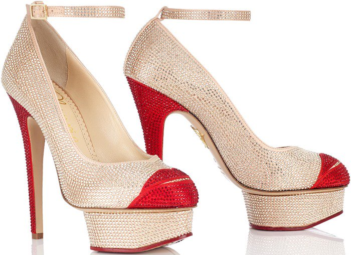 Charlotte Olympia Beige Crystal Kiss Me Dolores