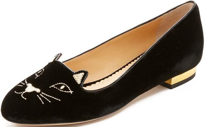 Charlotte Olympia 'Kitty' Velvet Flats in Black
