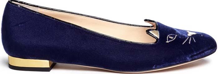 Charlotte Olympia 'Kitty' Velvet Flats in Blue