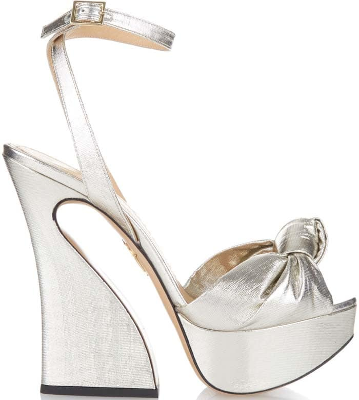 Charlotte Olympia 'Vreeland' Knotted Metallic Lamé Platform Sandals